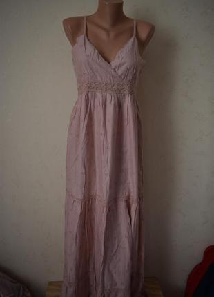 Новое натуральное длинное платье с вышивкой yumi