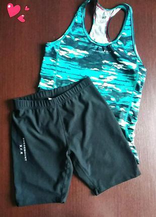 Комплект брендовый спортивный шорты и майка,одежда для фитнеса