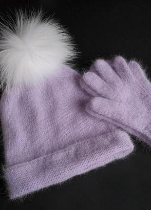 Шапка и перчатки весна ангора