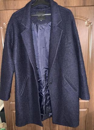 Пальто-бойфренд new look тёмное синие шерстяное