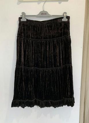 Бархатная длинная пышная юбка mango