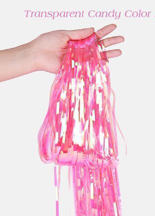 Дождик перламутровый розовый для фото зоны 2*1м