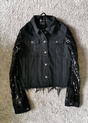 Крутая джинсовая курточка с пайетками  Sinsay