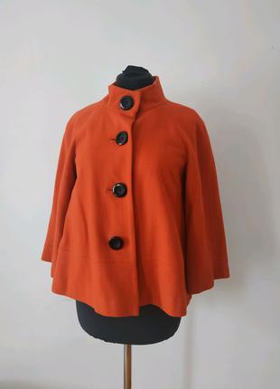 Короткое шерстяное оранжевое женское пальто George размер Евро 40