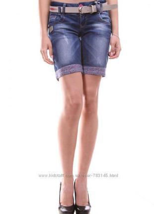 Шорты женский джинсовые, с подворотом, стрейчевые, ремень в ко...
