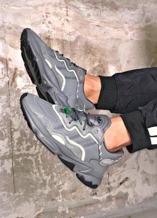 Мужские серые кроссовки adidas ozweego, весна-осень