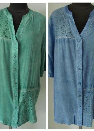 Блуза рубашечного кроя штапельная с прошвой двух цветов код 1389м