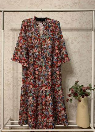 Платье цветочный принт оборки vero moda, новое!