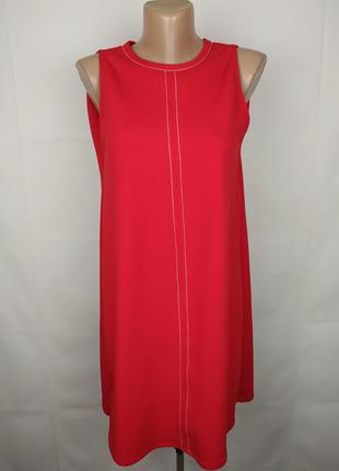 Платье стильное плотное красное оригинале zara uk 12/40/m