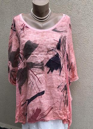 Блуза лён,рубаха,туника,рюши,кружево,сетка,большой размер,этно...