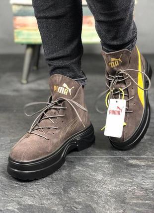 Крутые ботинки puma spring boots rown yellow black весна\осень
