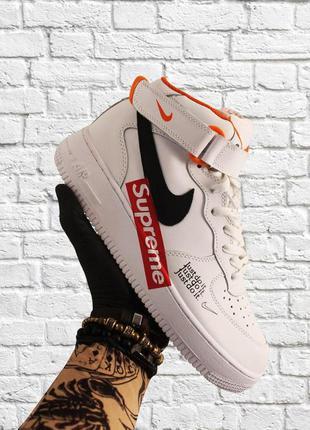 Стильные кроссовки 🔥 nike air force high supreme white black  🔥