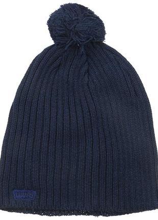 Шапка теплая вязаная levis мужская женская детская шапки с пом...