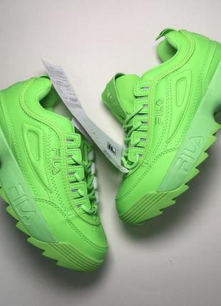 Стильные кроссовки 🔥 fila disruptor 2 green neon 🔥