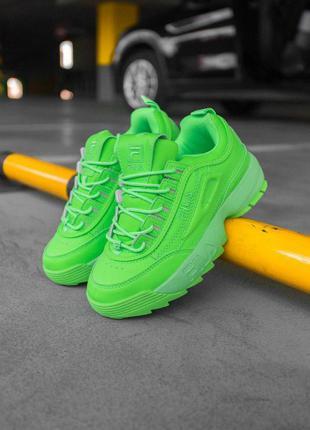 """Стильные кроссовки 🔥 fila disruptor 2 """"green neon""""     🔥"""