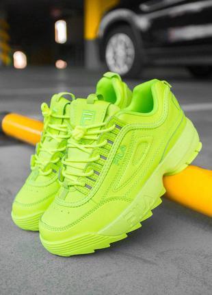 Стильные кроссовки 🔥 fila disruptor  yellow neon 🔥