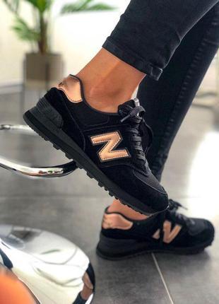 Стильные кроссовки 🔥 new balance 574 black/gold🔥