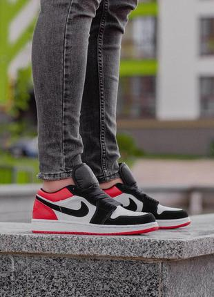 Стильные кроссовки 🔥 nike air jordan 1 low  white/red/black🔥