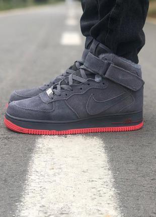 Крутые кроссовки 🔥 nike air force mid gray🔥 мех зима