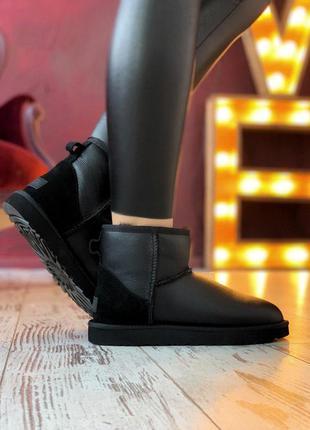 Стильные уги 🔥 ugg classic ii mini black  leather 🔥 зима