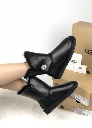 Стильные уги ❄️ ugg leather bailey button black blink❄️