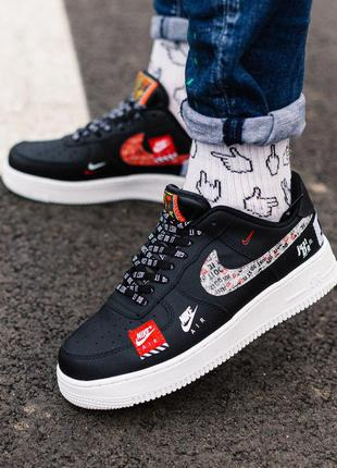 Стильные кроссовки 🔥 nike air force just do it black-red 🔥