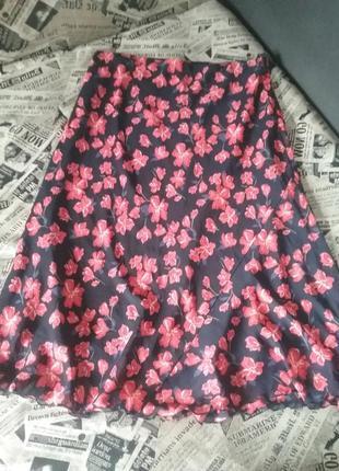 Летняя юбка в принт цветы