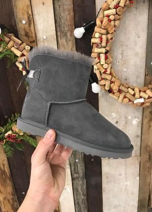 Крутые уги ❄️ugg mini bailey bow boot gray ❄️ на овчине