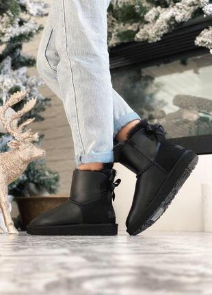 Cтильные уги ❄️ ugg bailey bow mini black😍 на меху зима