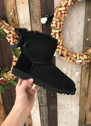 Крутые уги ❄️ ugg mini bailey bow boot black ❄️ на овчине