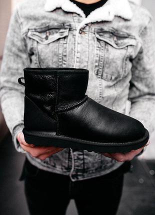"Cтильные уги ❄️ugg mini ""leather black""😍 на меху зима"