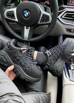 Стильные кроссовки на платформе  buffalo london black ❄️ на меху