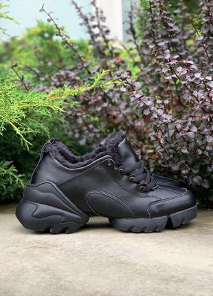 Christian dior black стильные кроссовки на меху