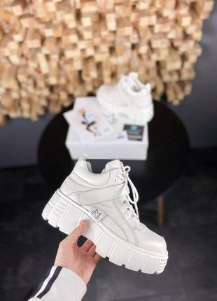 Ms sneakers full white зимние кроссовки на меху
