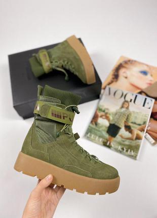 Fenty x puma scuba boot olive крутые ботинки