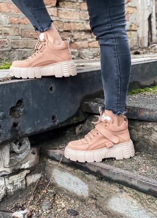 Ms sneakers brown зимние кроссовки на меху