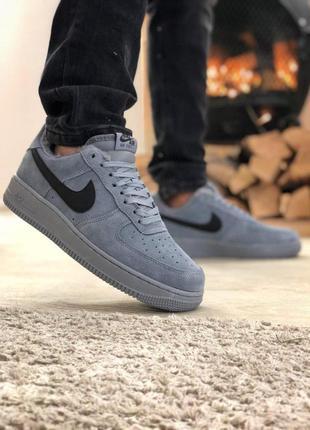 Nike air force кроссовки на меху натуральная замша