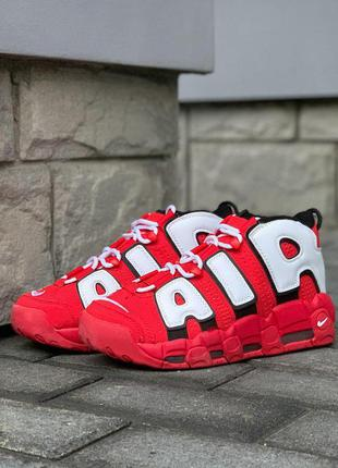 Nike air more uptempo 96 red white стильные кроссовки