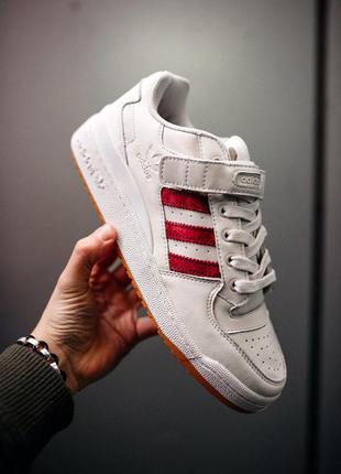 Adidas forum white/red стильные кроссовки