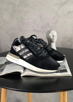 Adidas zx 500 black white стильные кроссовки