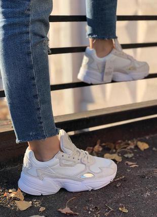 Adidas falcon full white стильные кроссовки