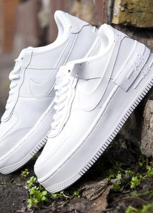 Cтильные кроссовки nike air force shadow white