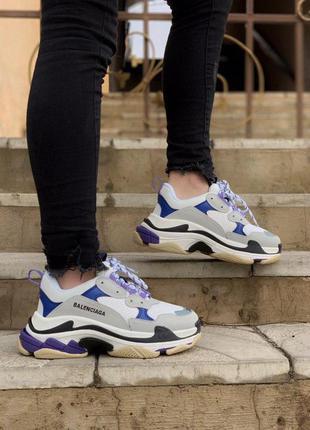 Cтильные кроссовки balenciaga triple s violet