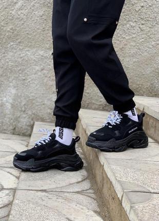 Cтильные кроссовки balenciaga triple s clear sole black/white