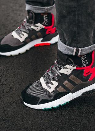 Cтильные кроссовки adidas nite jogger black\white