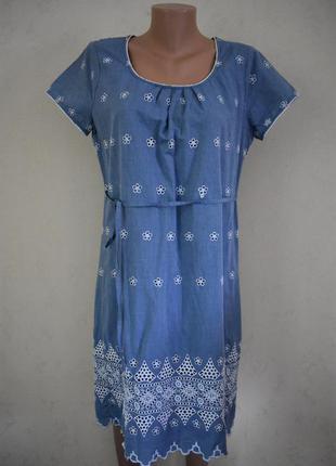 Натуральное платье с вышивкой marks & spencer