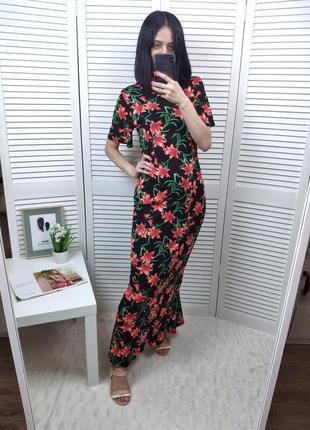 Платье в пол в цветочный принт asos с открытой спинкой , p-p u...