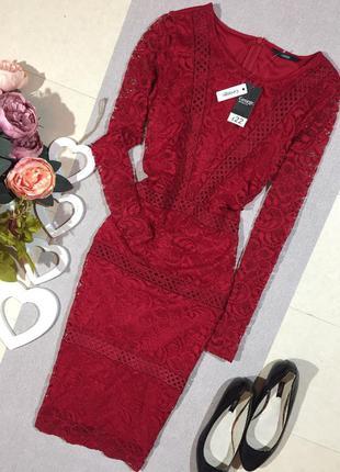 Новое!!! шикарное красное ажурное платье по фигуре.