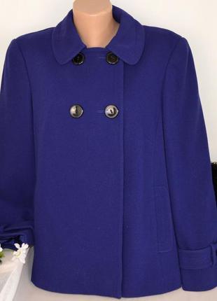 Брендовое синее демисезонное пальто полупальто с карманами bhs...
