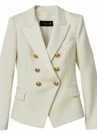Брендовый бежевый коттоновый пиджак жакет блейзер с карманами ...